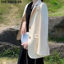 Suit Jacket Versatile Spring British-Style Korean White Women Work-Wear-Suits Black Casual