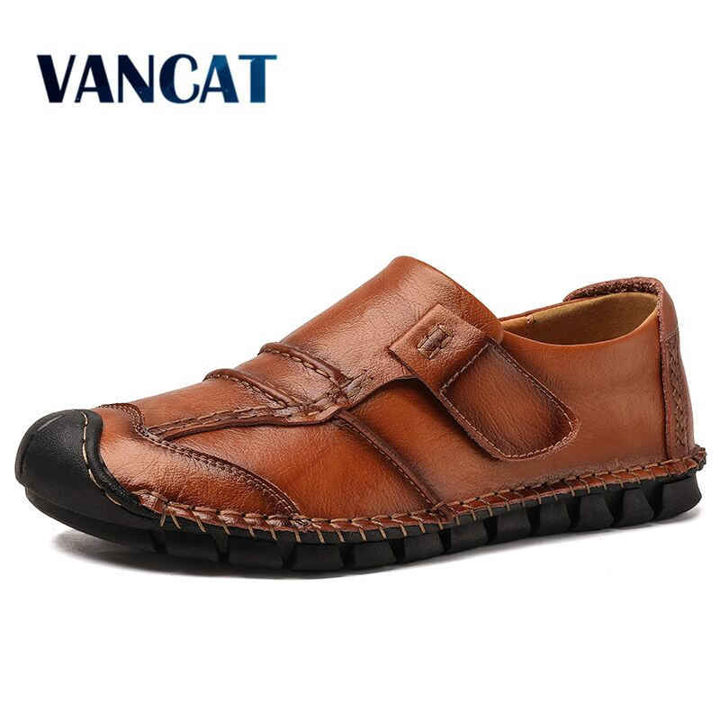 Vancat 2019 New Genuine Leather Men's Shoes Breathable Men Casual Shoes Men Loafers High Quality Driving Shoes Big Size 38-48