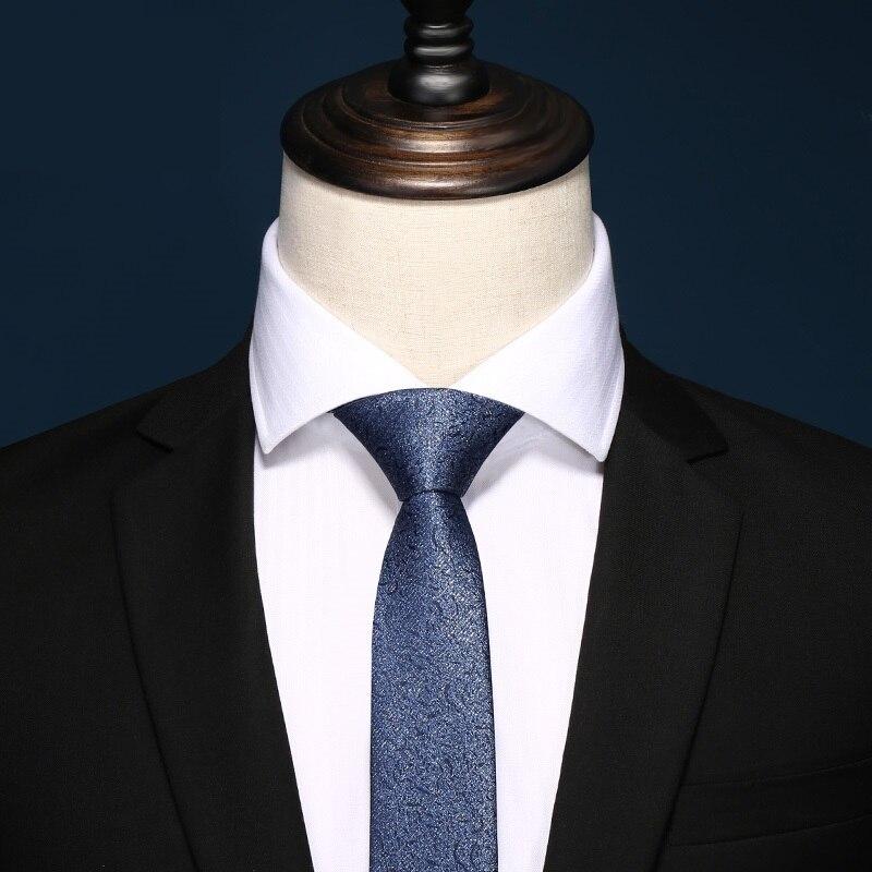 2020 Brand New Fashion High Quality Mens 5CM Slim Dark Pattern Blue Necktie Business Formal Suit Neck Tie For Men With Gift Box