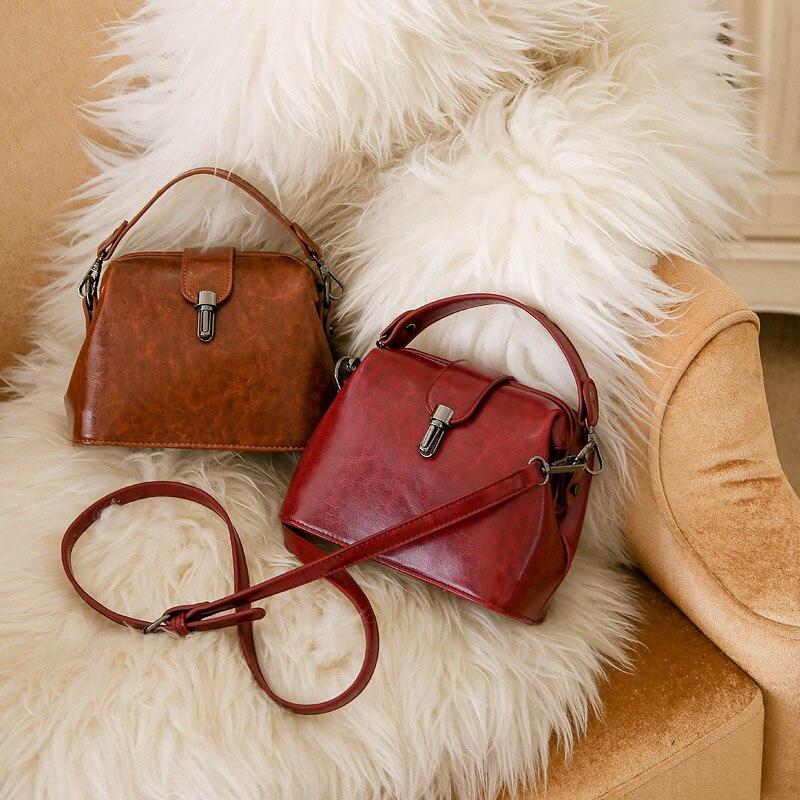 Doctoc sac femmes cuir sac à main 2019 dames petit sac fourre-tout Vintage sac à bandoulière pour filles cadenas messagers noir marron rouge - 6