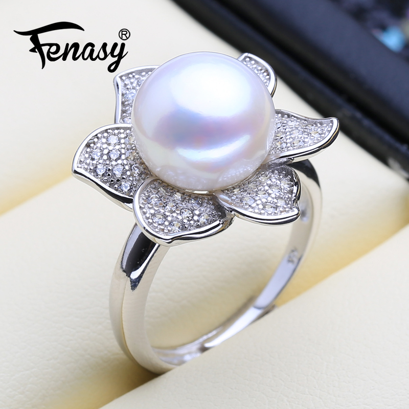 FENASY Engagement-Ring 925-Sterling-Silver Ring Jewelry-Box Flower Natural Vintage
