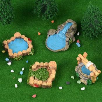 4 Uds resina agua pozo piscina miniatura Jardín de hadas paisaje artesanía accesorios Micro escena antigua decoración