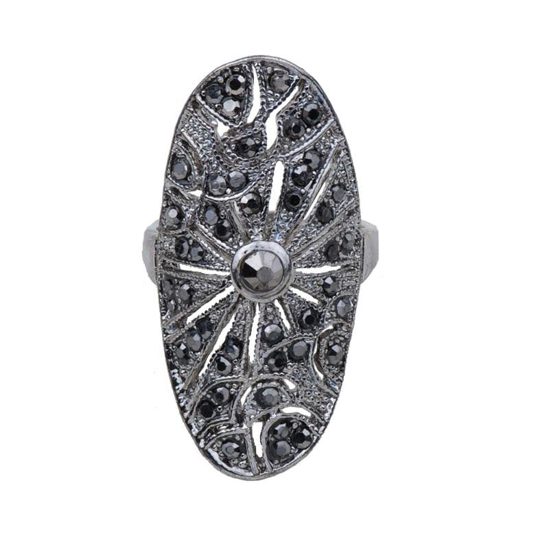 Богемное кольцо для женщин, винтажное античное серебро, черный кристалл, овальные геометрические вечерние ювелирные изделия, Коктейльная д...