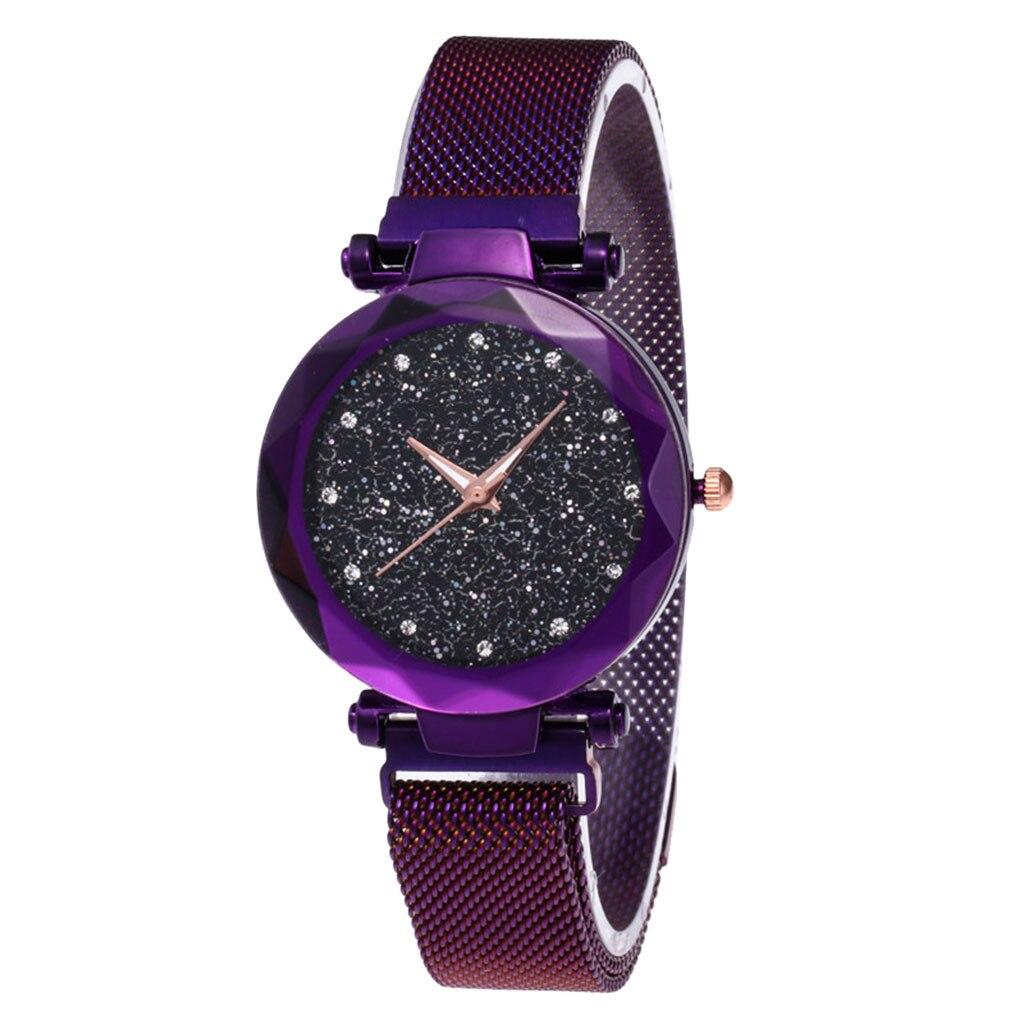Модные женские часы, Роскошные, звездное небо, стразы, кристаллы, часы, магнит, камень, Милан, сетчатый ремень, Женские кварцевые наручные