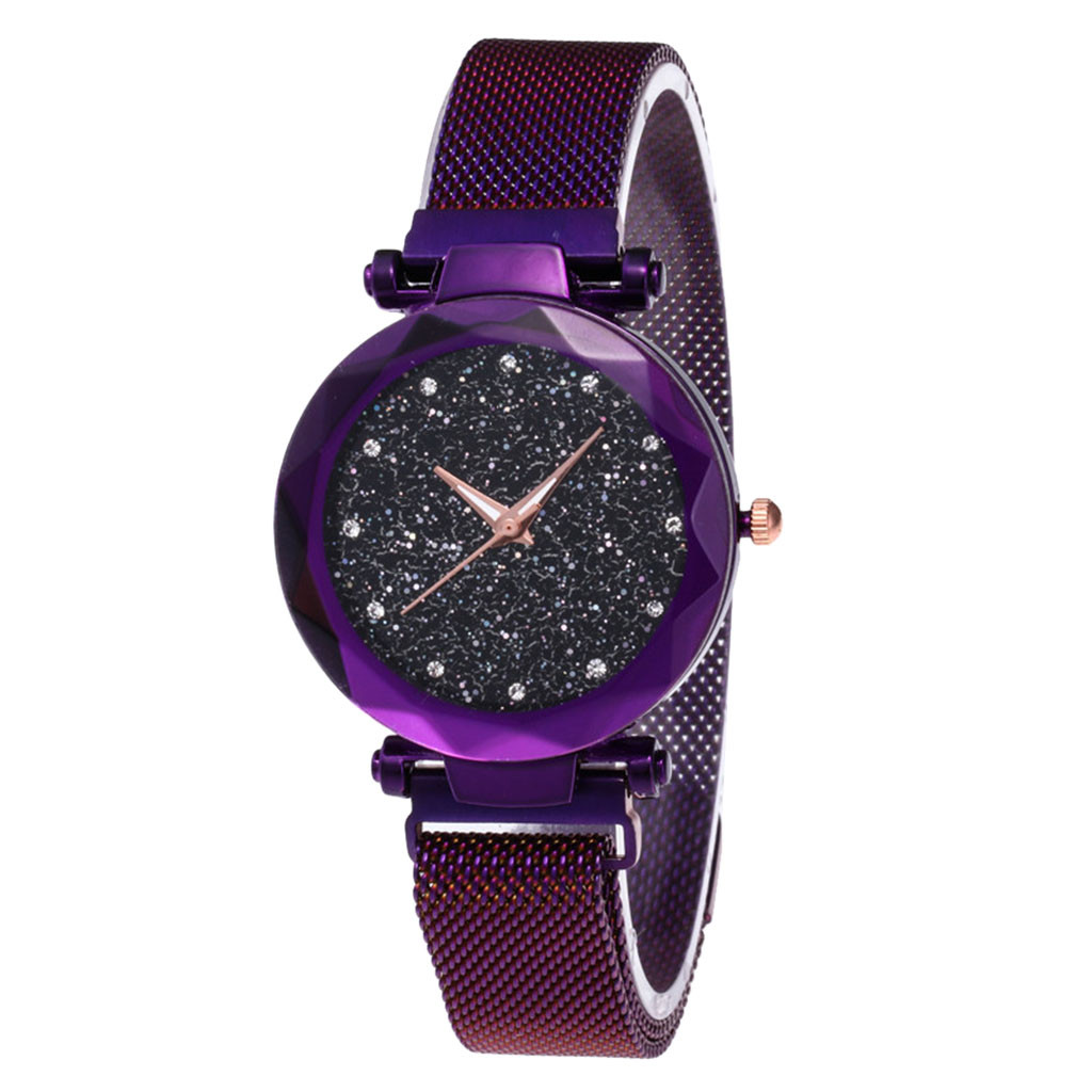 Fashion Women Ladies Watch Luxury Starry Sky Rhinestone Crystals Watch Magnet Stone Milan Mesh Belt Women's Quartz WristWatch