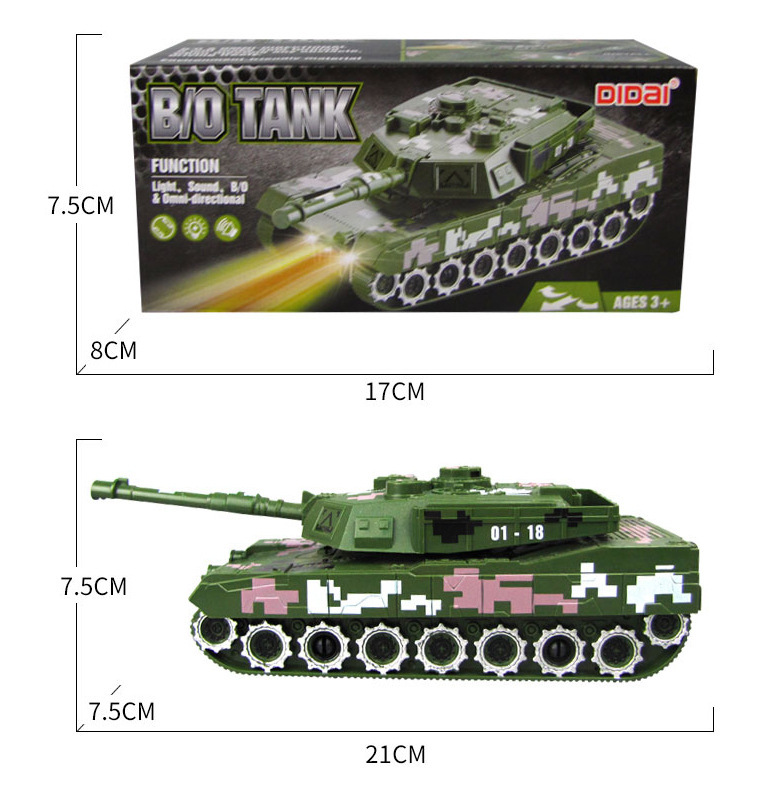 New Style CHILDREN'S Electric Toy Car Military Model Toy Light Included Shining Music Universal Tank Boy Toy