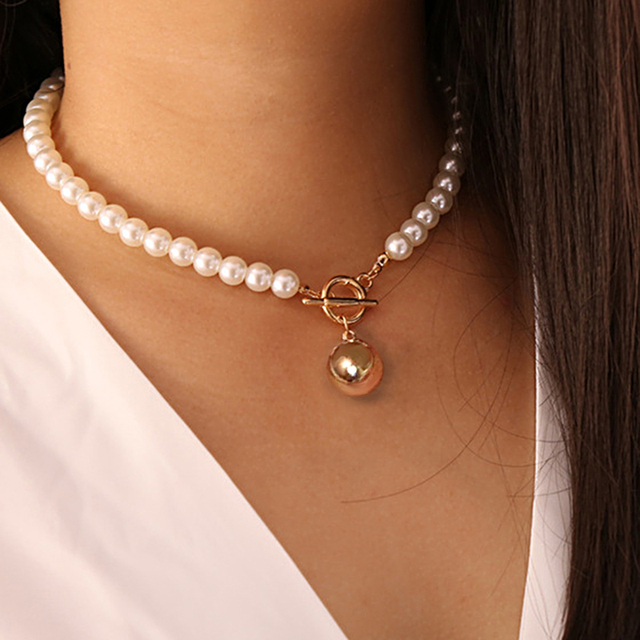 nice pearl and gold color necklace 6