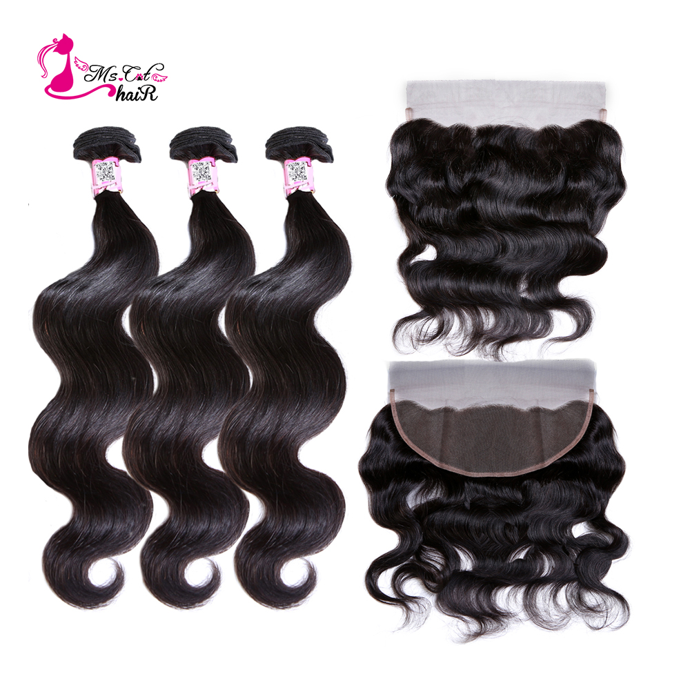 Ms Cat Hair 13x4 Lace Frontal Closure With Bundles Remy Brazilian Body Wave Human Hair Bundles With Lace Closure 4 Pcs/lot