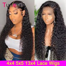 Perruque Lace Frontal wig malaisienne Remy, cheveux naturels, Deep Curly, pre-plucked, 5x5, 13x4, 180% de densité, perruque pour femmes