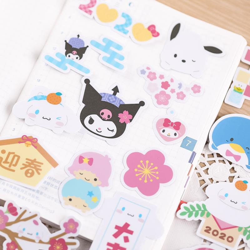 27pcs/pack Cartoon Sanrio Series Pudding Dog Penguin Sticker Scrapbooking Stick Label Diary Album Stickers Classic Toy Kids Gift