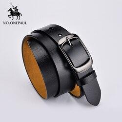 NO.ONEPAUL retro-Cinturón de piel auténtica para mujer, de alta calidad, marca de lujo, con doble hebilla de metal, con pantalones vaqueros