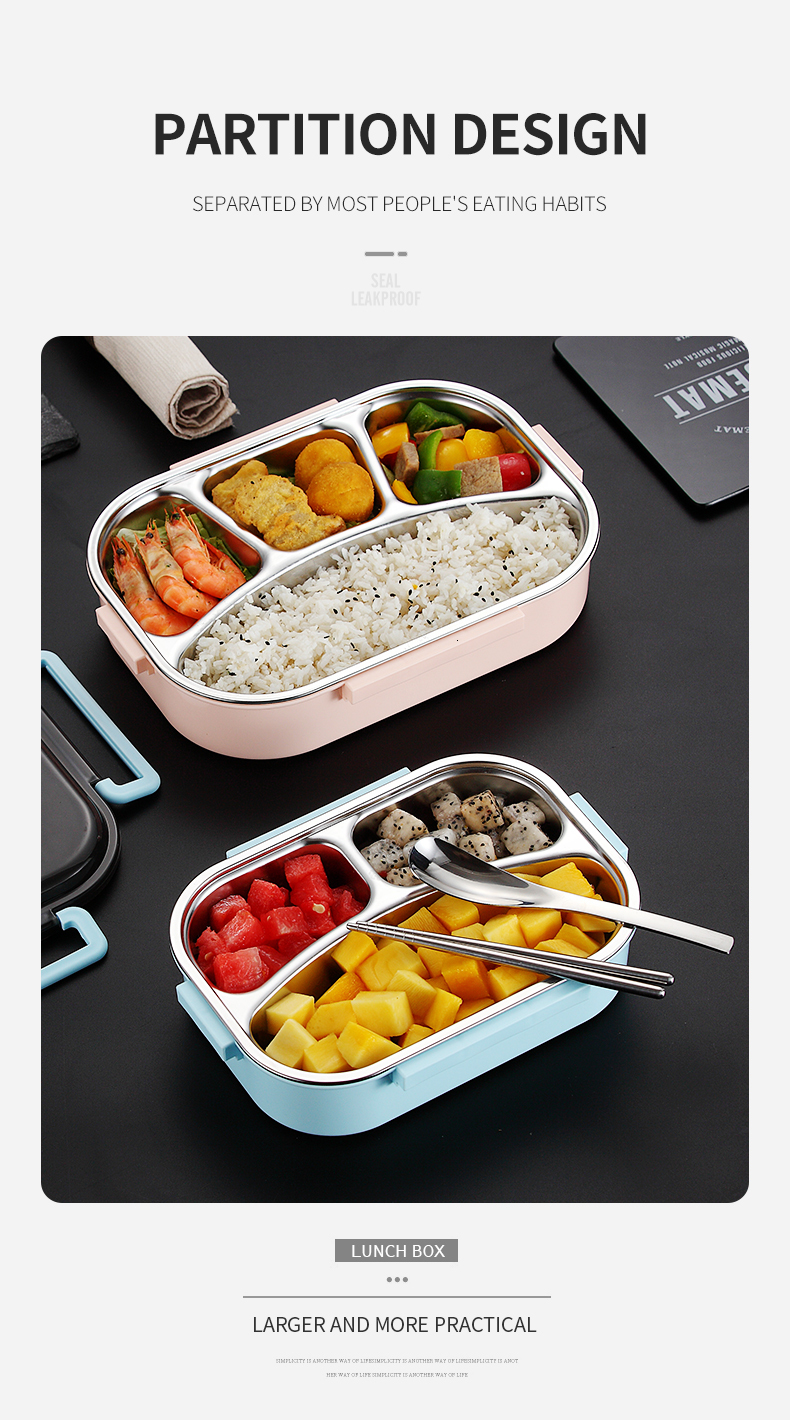 H2342775e83234a6996b3c4560057a85eW - WORTHBUY Japanese Kids Lunch Box 304 stainless steel Bento Lunch Box With Compartment Tableware Microwave Food Container Box