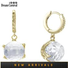 DreamCarnival1989 New Arrive Drop Earrings for Woman Clear White Special Cut Dazzling CZ Elegant Gold Engagement Jewelry WE3819G
