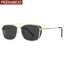 Peekaboo men retro sunglasses women square metal frame punk male sun glasses fem