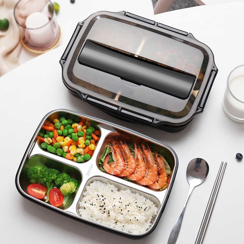 Stainless Steel Thermal Lunch Box Containers with Compartments Leakproof Bento Box Food Container Picnic Office School Lunchbox