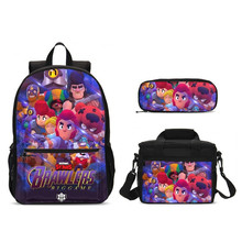 3Pcs/Set Portfolio School Bags For Boys Girls Cartoon Brawl Stars Letter 3D Printing Backpacks Kids Ice Bag Bookbag Shoulder Bag