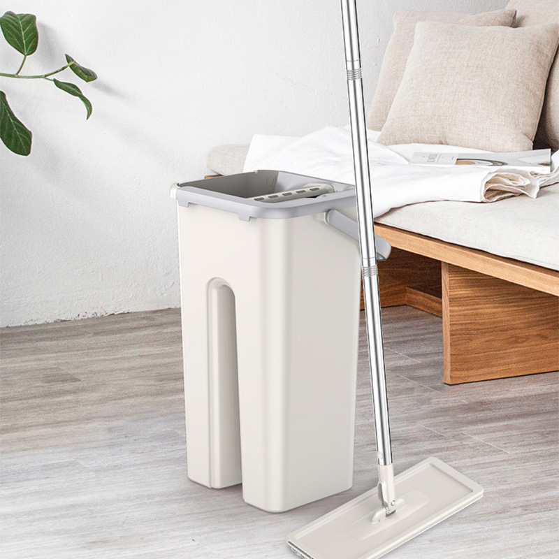 Hands Free Flat Mop with Bucket 360 Rotating Magic Floor Mop Home Kitchen Floor Lazy Mop Household Cleaning Tool