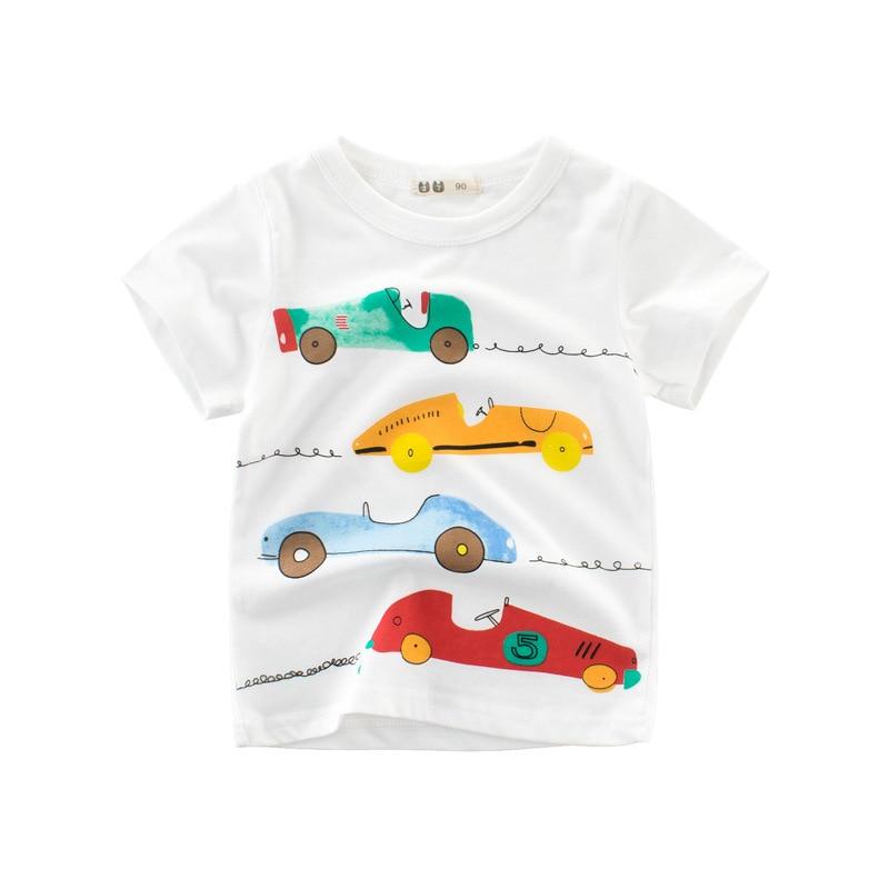 Boys & Girls Cartoon T-shirts Kids Dinosaur Print T Shirt For Boys Children Summer Short Sleeve T-shirt Cotton Tops Clothing 2