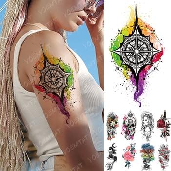 Tatuaje temporal a prueba de agua pegatina Arco Iris brújula sirena Flash tatuajes cráneo familia árbol arte corporal brazo Tatuaje falso mujeres hombres