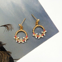 Lady charm female Japanese Korean earrings fashion metal texture simple geometry elegant flower