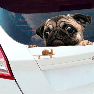 Image 4 - מצחיק 3D פאג כלבי שעון חילזון רכב חלון מדבקות חמוד חיות מחמד גור מחשב נייד מדבקת PVC מדבקת רכב דקור Accessaries
