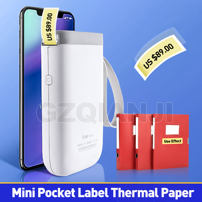 Label Printer Mini Pocket Thermal Notes Bluetooth Wireless label Printer Portable Printer for Android iOS Phone image