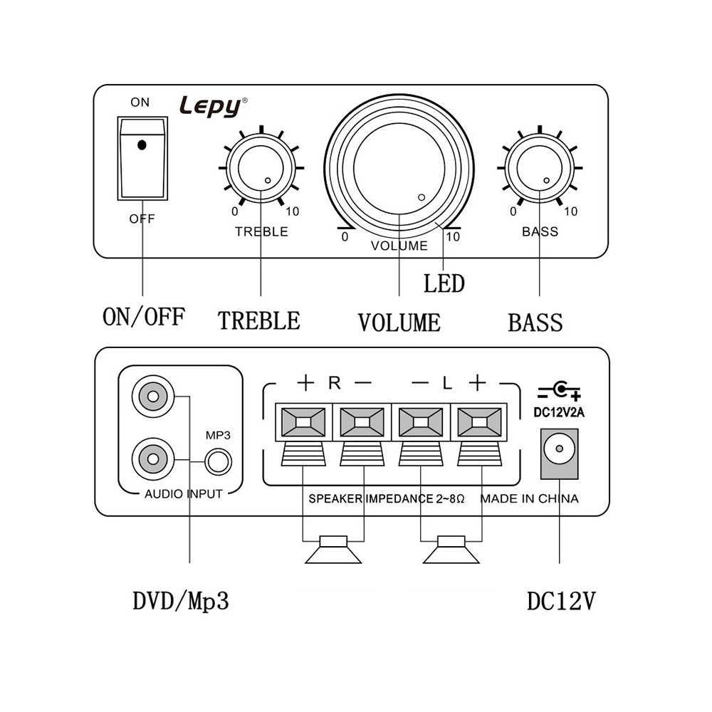 مكبر للصوت مشغل رقمي 2CH HiFi ستيريو الصوت سيارة المنزل للهاتف المحمول MP3 MP4 دعم التحكم في مستوى الصوت