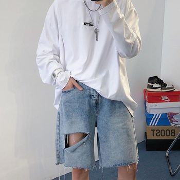 Summer Ripped Denim Shorts Men's Fashion Retro Casual Hole Short Jeans Men Streetwear Loose Hip Hop Ripped Denim Shorts Mens roll up ripped denim shorts