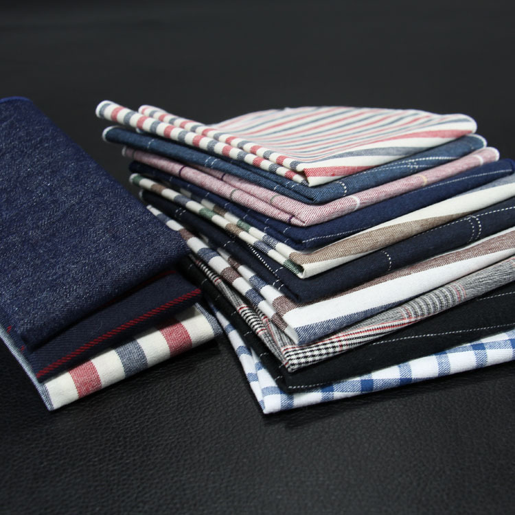 Classics Man Suit Accessory 9.5 Inch Cotton Striped Jacquard Weave Hankerchief  Pocket  Tie Scarf High Quality Square Hanky Gift
