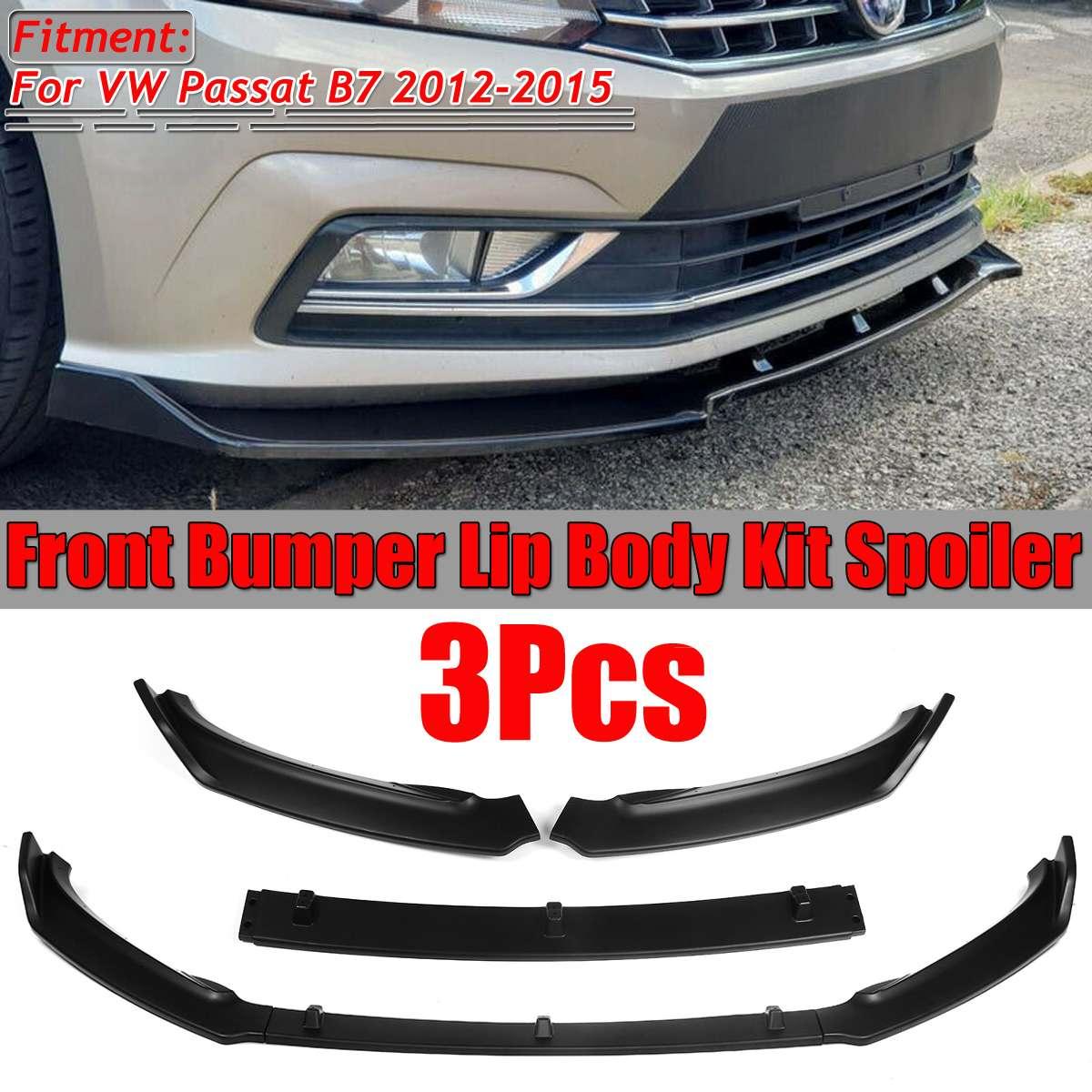 3 pièces mat noir B7 voiture pare-chocs avant lèvre séparateur lèvre diffuseur Spoiler garniture garde protecteur pour VW pour Passat B7 2012-2015