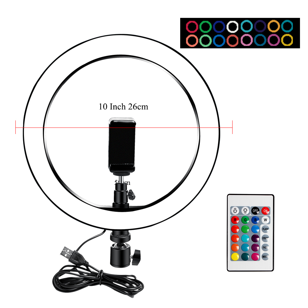 H23430c12fc874439b15783c080616c8dI 10 Inch Rgb Video Light 16Colors Rgb Ring Lamp For Phone with Remote Camera Studio Large Light Led USB Ring 26cm for Youtuber
