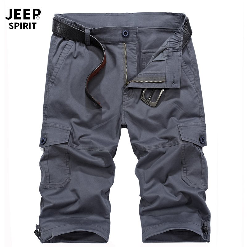 JEEP SPIRIT Cargo Short Men Summer Men Short Masculino Multi-pockets Mid-waist Knee Length Short Hombre M-XXXL No Belt