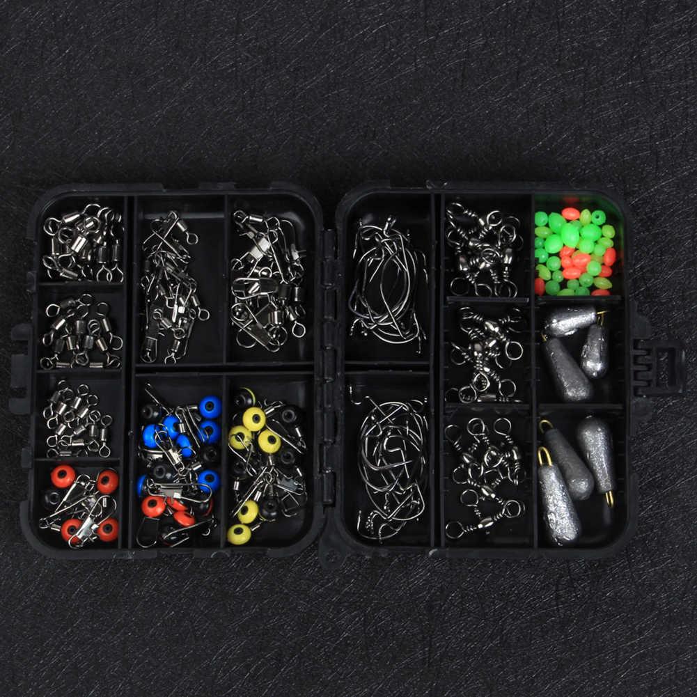 Kit de caja de aparejos de pesca de 160 Uds., broches giratorios, pesas de plomo, cuentas de ganchos, accesorio con anillo de ocho palabras, anzuelos, artefactos para pescar