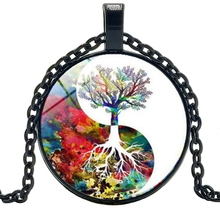 HOT! 2019 Tai Chi Yin Yang Color Tree of Life Necklace Fashion Anime Peripheral Glass Bevel Pendant Necklace Glamour Jewelry glowing yin yang necklace phoenix glass dome pendant tree of life silver plated chain necklace glow in the dark yin yang jewelry