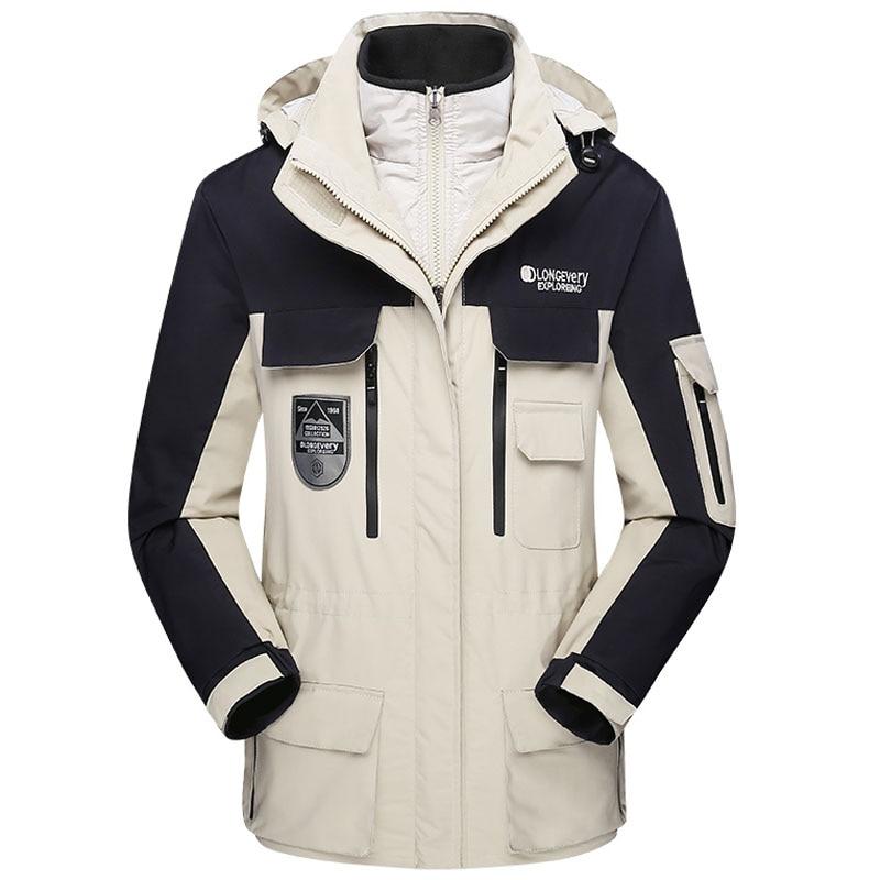 2019 Winter Warm 3 In 1 Parka Jacket Windbreaker Brand Two-piece Thicken Waterproof Windproof Hooded Outwear Snow Parkas Coat