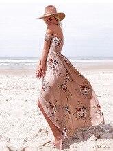 Floral Printing Chiffon Sexy Maxi Dress Women Off The Shoulder Asymmetrical Bohemian Bech Long Dress 2019 vestidos de fiesta printing off the shoulder flounce dress
