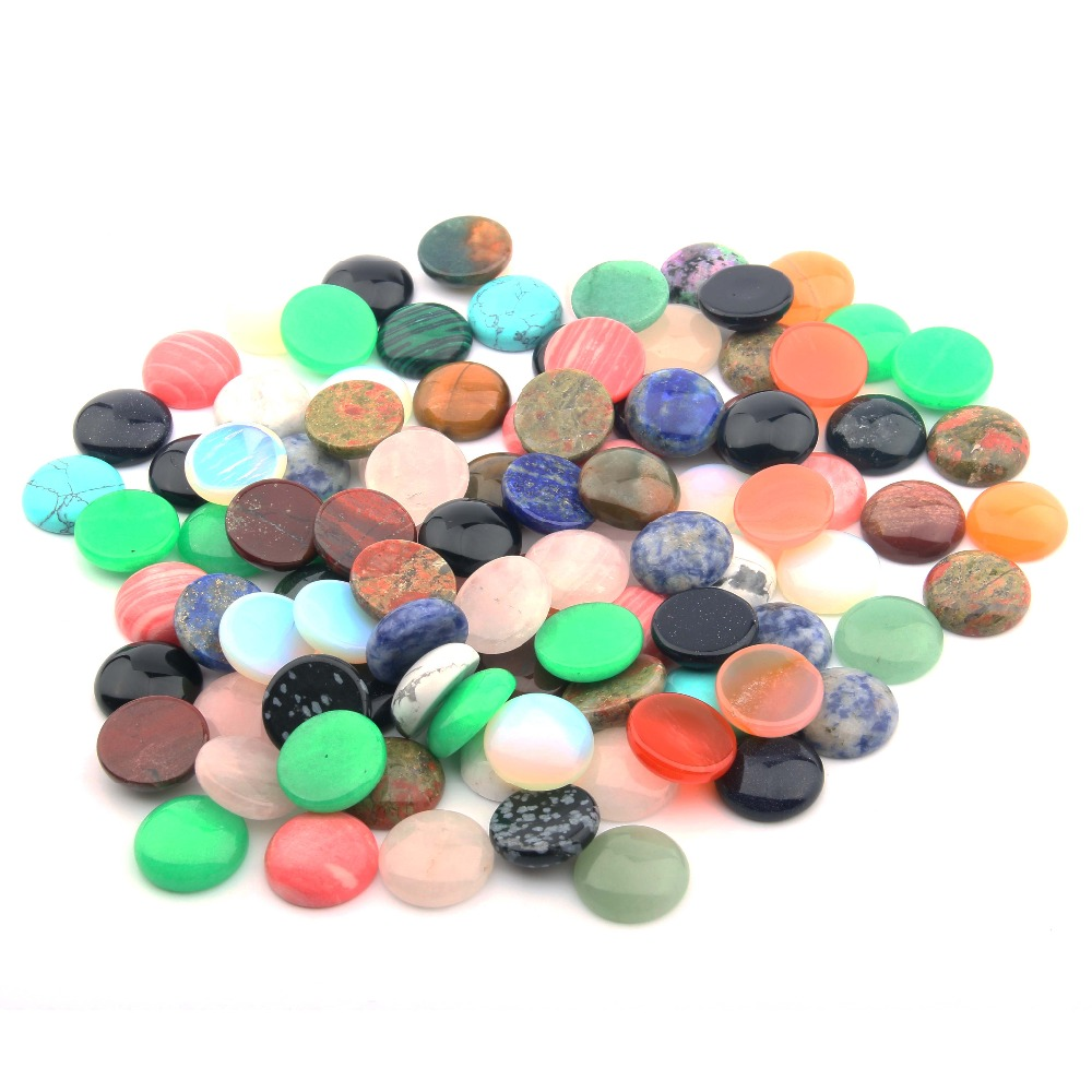 10pcs Natural Stones Cabochon 12 14 16 18 20 25mm Round No Hole Beads Components For Jewelry Making Supplies DIY Ring Loose Bead