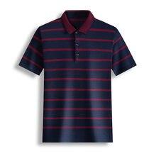 Ymwmhu 100% Cotton Polo Shirt Men Short Sleeve Buttton Collar Summer Slim Fit Shirt Striped Streetwear Casual Male Polo Shirt