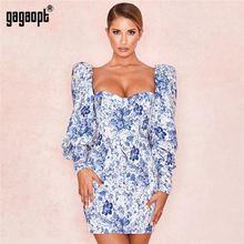 Gagaopt Floral Print Pleated Dress Spring Autumn Women Long Sleeved Blue Flower Printed Mini Dresses