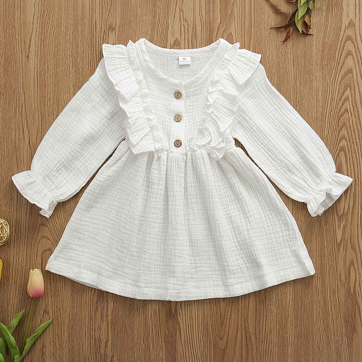 0-5Y Toddler Kids Baby Girl Autumn Dress Ruffles Long Sleeve Solid Cotton Linen Party Casual Dress Clothes