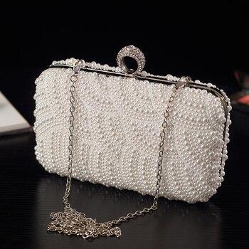 Women Fashion Evening Bag White Pearl Beaded Pure Color Elegant Lady Girl Party Bag Crossbody Shoulder Handbag Metal Frame Flap