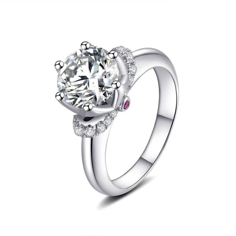 S925 bagues en argent Sterling 2 carats AAAAA haute qualité Zircon cubique couronne broche réglage bagues de mariage pour les femmes bijoux classiques