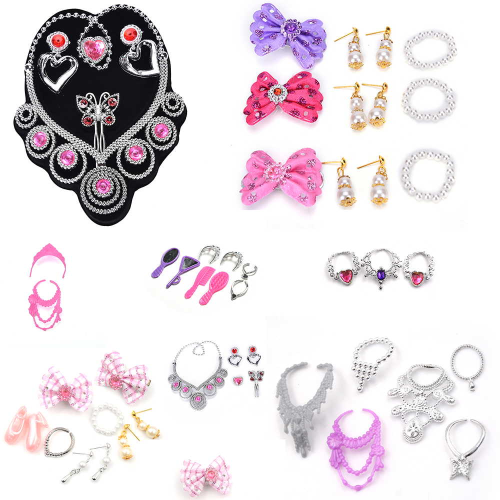 Doll Set Of Fashion Jewelry Princess Empress Crowns Necklace Earring Bowknot For Dolls Party Accessories For  Kids Gift