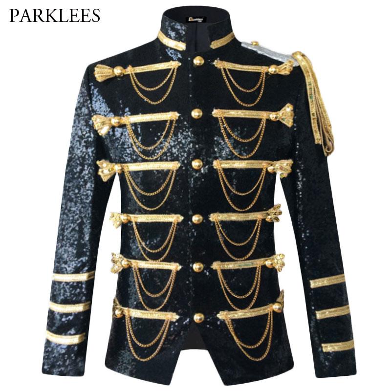 Sequin Embellished Blazer Jacket Men Stage Party Mens Suit Jacket Military Dress Tuxedo Men Blazer Singer Show DJ Costume Homme