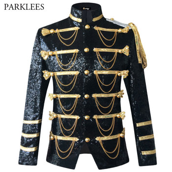 Sequin Embellished Blazer Jacket Men Stage Party Mens Suit Military Dress Tuxedo Singer Show DJ Costume Homme - discount item  20% OFF Suits & Blazer