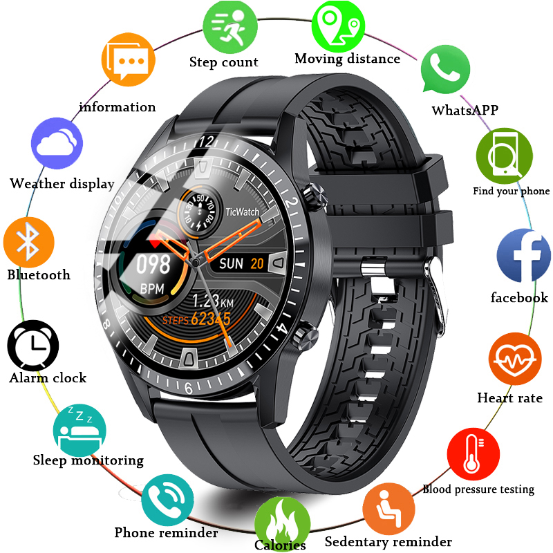 Smart Watch Full Touch Round Screen Bluetooth Music Pedometer Watches Sports Tracker Men Call Reminder SmartWatch Supports Phone