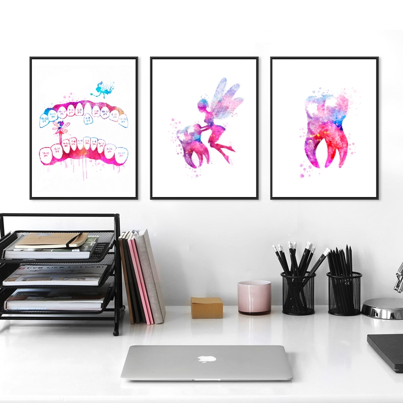 Tooth Row Canvas Painting Dental Clinic Wall Art Paintings Dentist Home Decors