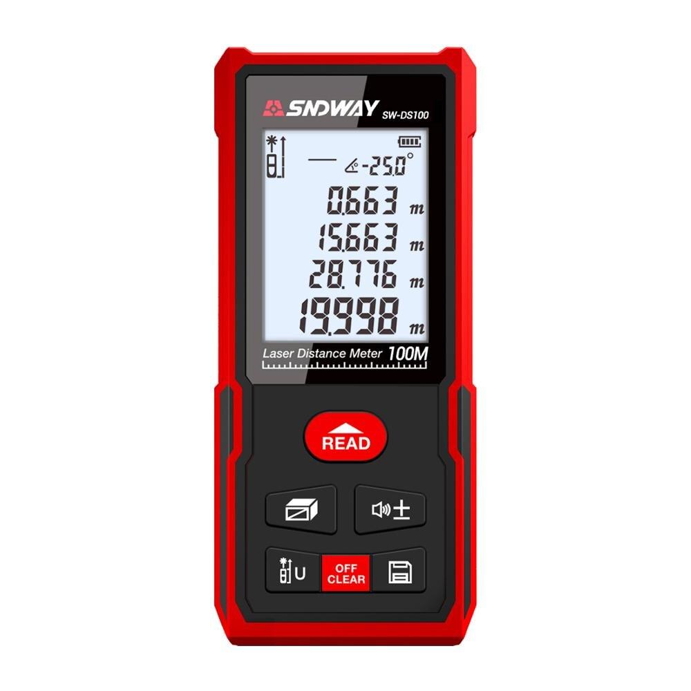 SW-DS 100 SNDWAY 100MLaser Palette Finder Trena Band Laser Abstand Meter Mess Roulette Lineal Werkzeug