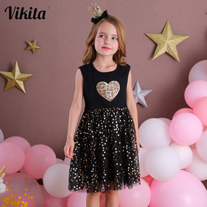 VIKITA Girls Dresses 2020 Girls Sequins Sleeveless Dresses Kids Elegant Princess Tutu Vestidos Children Summer Tulle Dress