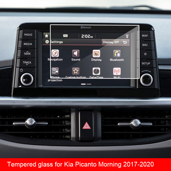 9H tempered glass film For Kia Picanto Morning 2017 2018 2019 2020 car GPS navigation screen image